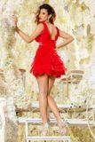 Dámské červené formální šaty Foggi RED DEVIL s krystaly