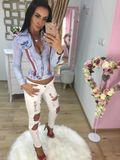 Dámské bíle potrhané džíny ESCAPE WHITE