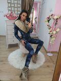 Dámská džínová zateplená bunda Foggi denim s béžovou kožešinou