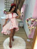 Dámské bílo-červené šaty s volánky Foggi DOTS