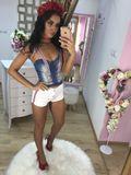 Dámský džínový top s vycpanými košíčky Foggi PINK GIRL