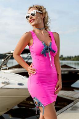 Dámské neonovo růžové šaty Foggi PINK KISS