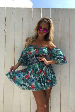 Dámské tyrkysové šaty s volány Foggi PARADISE
