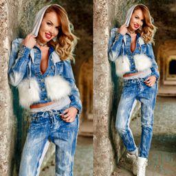 Dámská džínová bunda Foggi WHITE s kožešinou