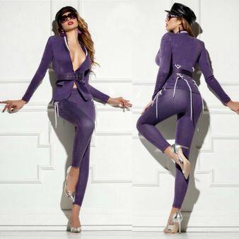 Dámské fialové slim kalhoty Foggi STYLE