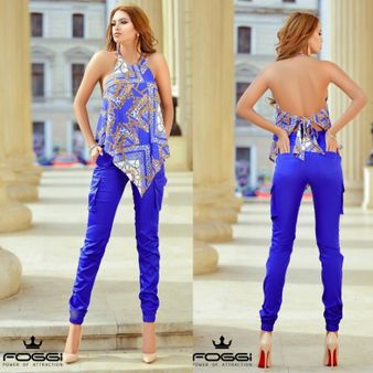 Dámské kapsačové kalhoty FOGGI Blue