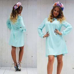 Dámské modré šaty volného střihu LUXURY