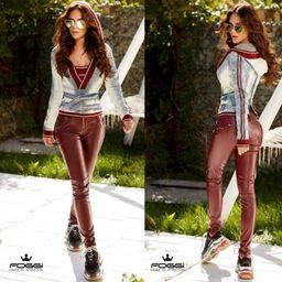 Dámské kožené kalhoty Foggi-claret red