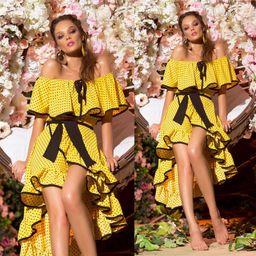 Dámské žluté tečkované šaty Foggi DOTS s volánky