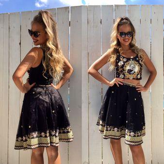 Dámský černý sukňový komplet NI GOLD CRYSTALS